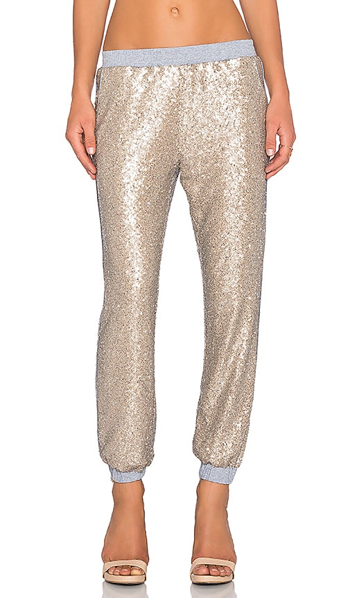 Lucy Paris Sequin Jogger Pant in Gold