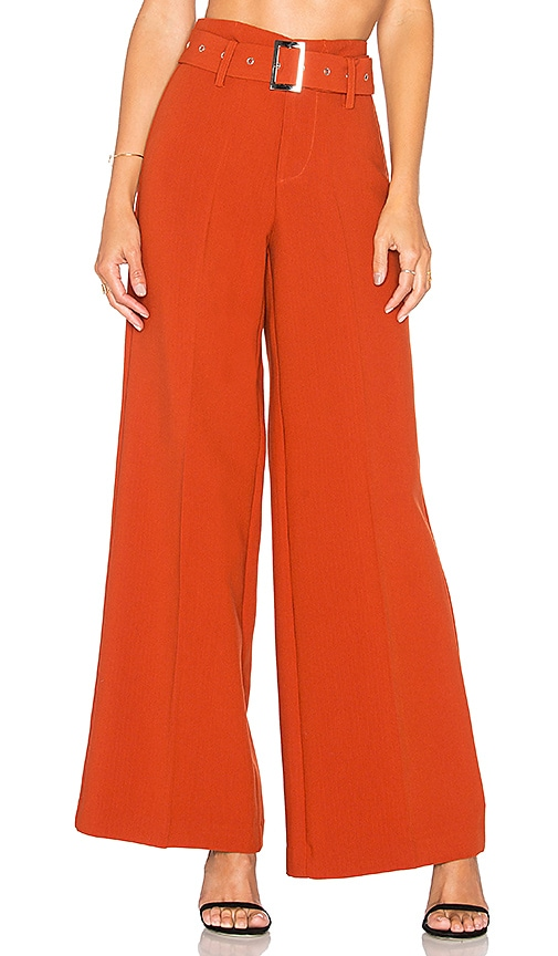 Lucy Paris Stella Belted Pant in Rust