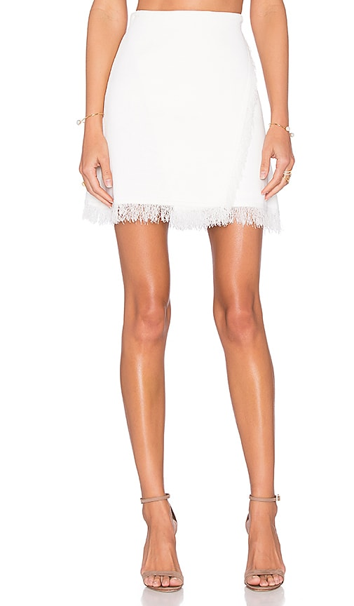 Lucy Paris Eyelash Fringe Skirt in White