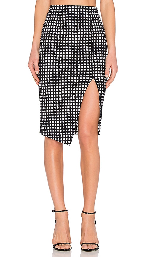 Lucy Paris Boxy Pattern Skirt in Black & White