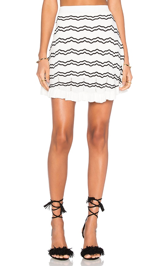 Lucy Paris Knit Stripped Skirt in White
