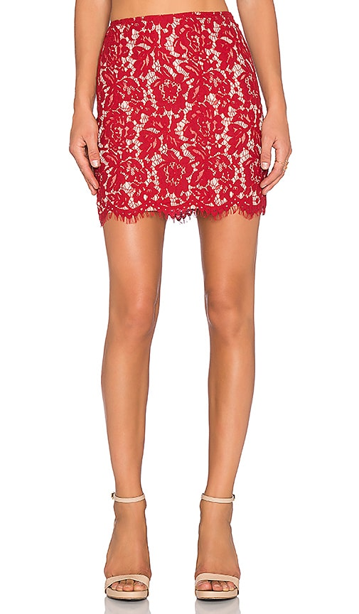Lucy Paris Bradshaw Lace Pencil Skirt in Red