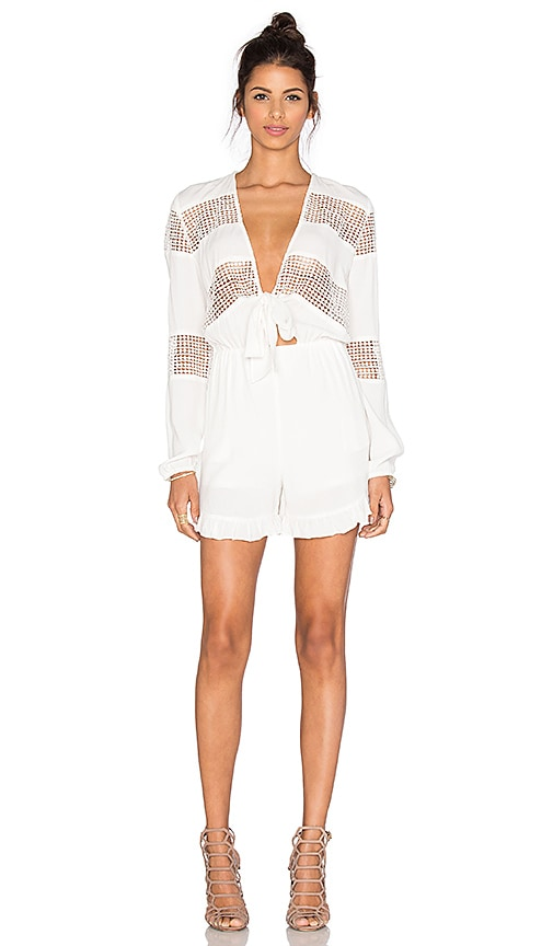 Lucy Paris Self Tie Knotted Romper in White