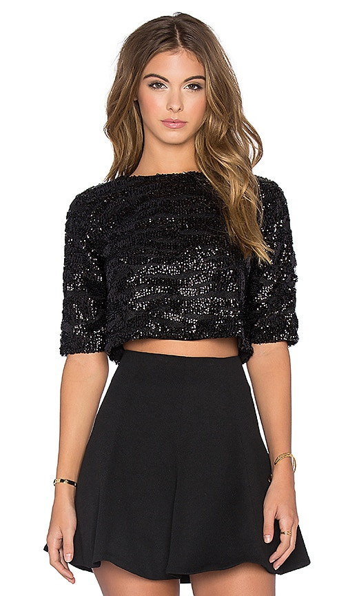 Sequin Crop Tee