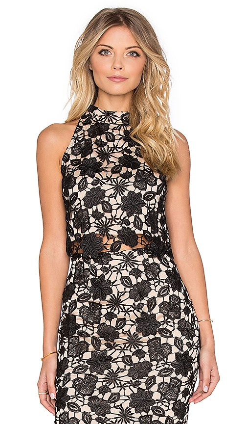 Lucy Paris Floral Lace Crop Top in Black & Cream
