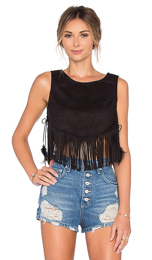 Lucy Paris Cowgirl Suede Fringe Top in Black