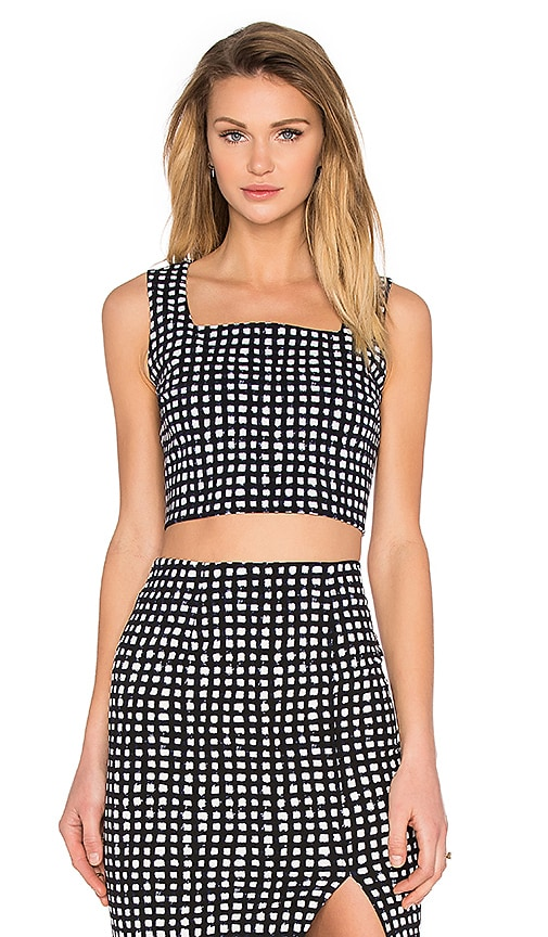 Lucy Paris Boxy Pattern Top in Black & White