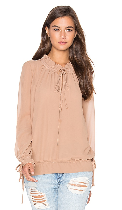 Lucy Paris Tie Up Blouson Top in Tan