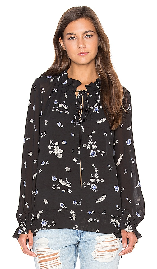 Lucy Paris Tie Up Blouson Top in Black