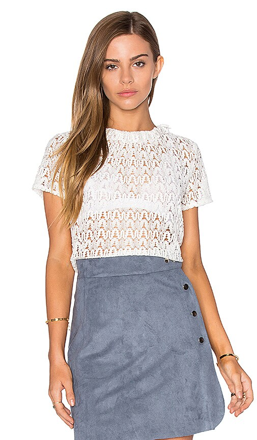 Lucy Paris Lace Frilling Top in White