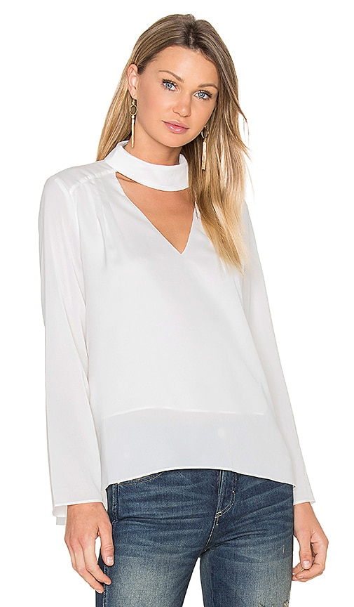 Lucy Paris Sylvia V Neck Top in White