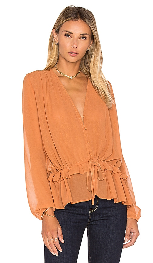 Lucy Paris Julie Tie Up Top in Tan