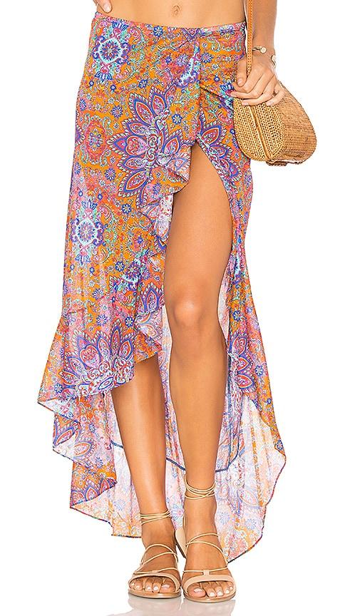 Luli Fama Ruffled Skirt in Orange