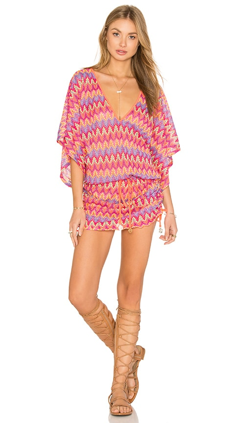 Luli Fama Song Of The Sea Cabana V Neck Dress in Pink