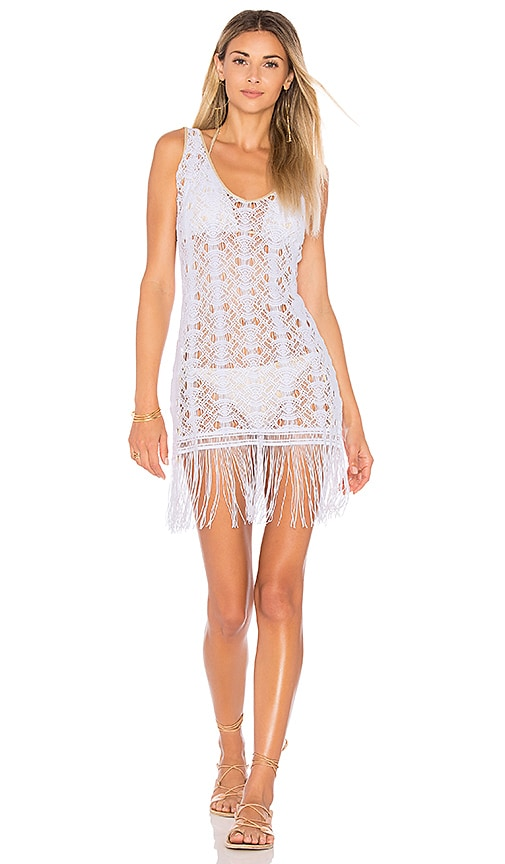 Luli Fama Muchachita Linda Flirty Fringe Dress in White