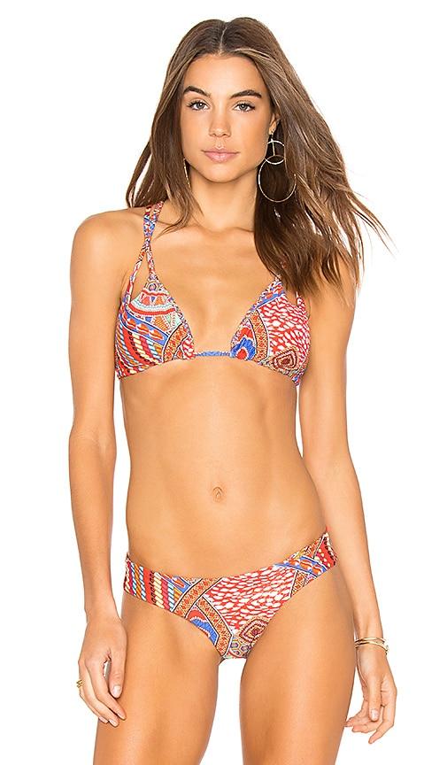 Luli Fama Guadalupe Bikini Top in Red