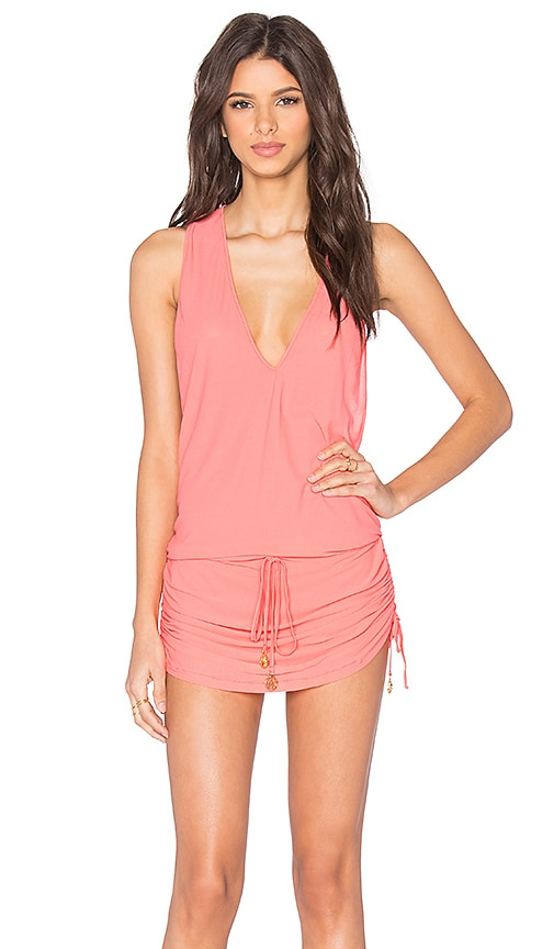 Luli Fama Cosita Buena T-Back Mini Dress in Coral