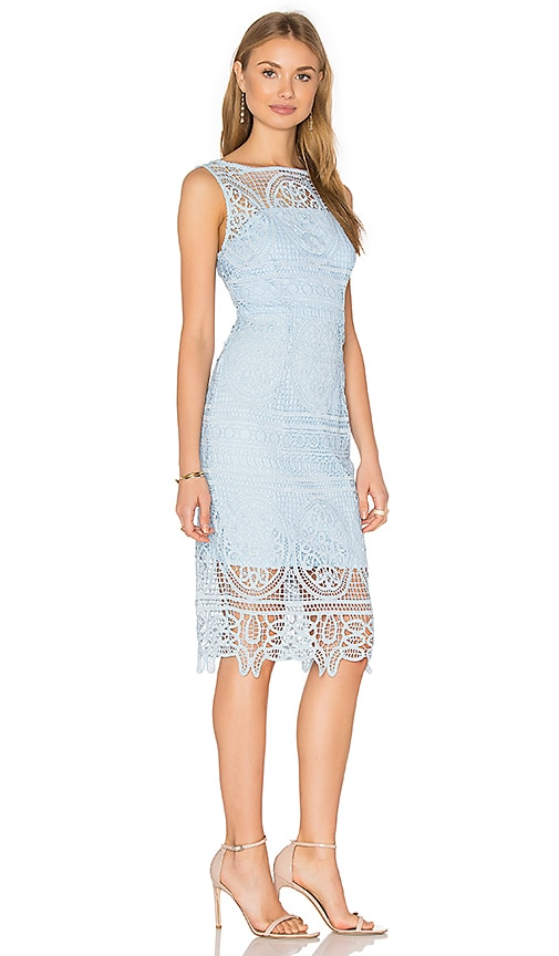 Lumier Lady Like High Neck Dress in Blue