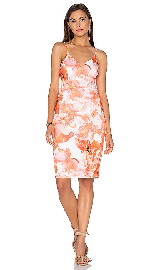 Lumier Marble Floral Midi Dress in Orange