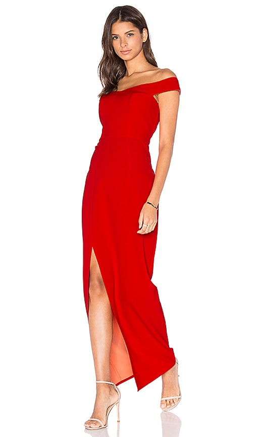 Lumier Go Your Own Way Off The Shoulder Maxi Dress in Red