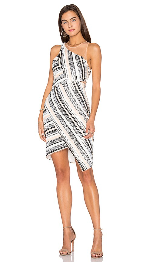 Lumier Beautiful Parade Illusion Neck Dress in White