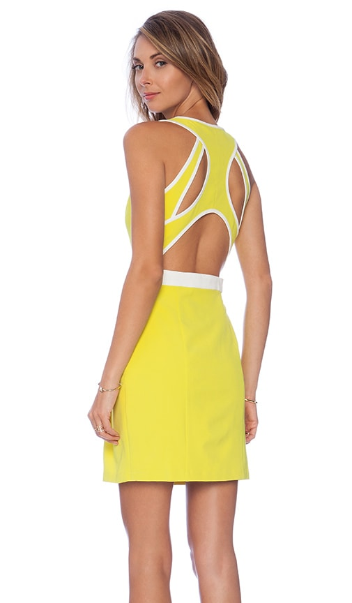 Lumier Aspire to Inspire Open Back Flare Dress in Lemon