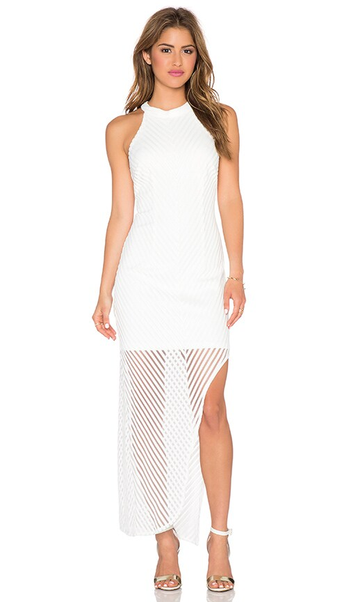 Lumier On the Boarderline Sheer Long Sleeves Maxi Dress in White