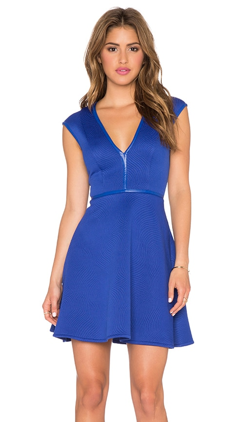 Lumier Universal Language Quilted Fit & Flare Dress in Cobalt