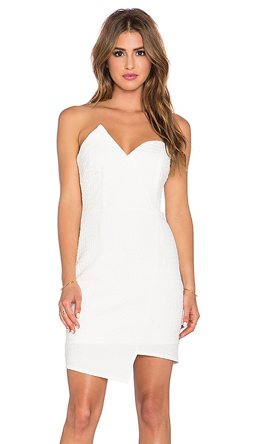Lumier Modern Mini Malist Bustier Dress in White