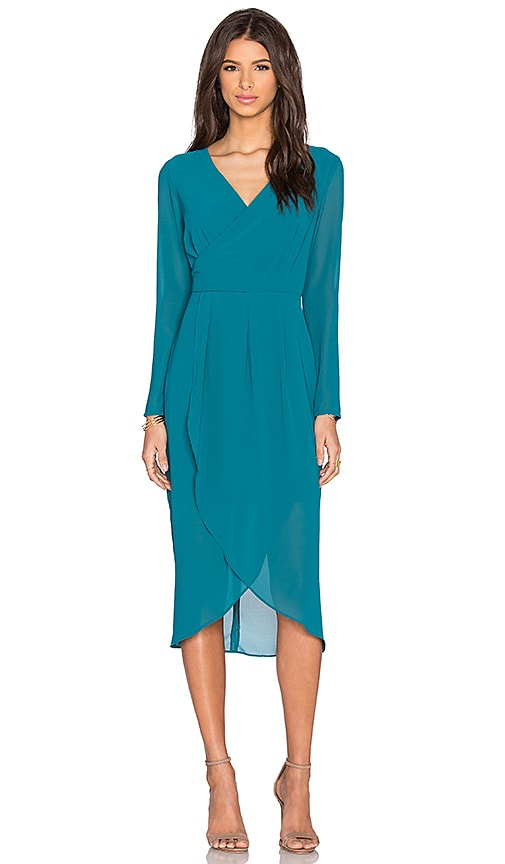 Lumier Deep V Hi-Lo Dress in Teal
