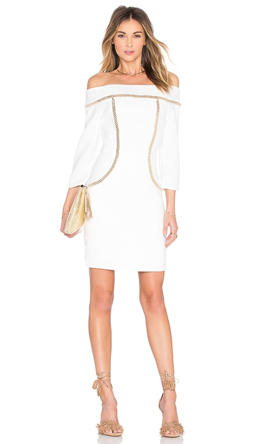 Lumier Chain Reaction Off Shoulder Dress in White
