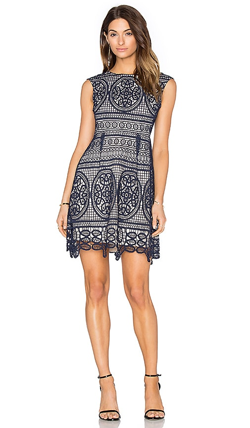 Lumier Lady Like Fit & Flare Dress in Navy