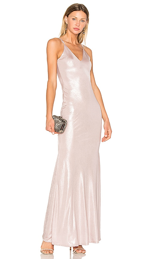 Lurelly Shimmer Maxi Dress in Metallic Silver