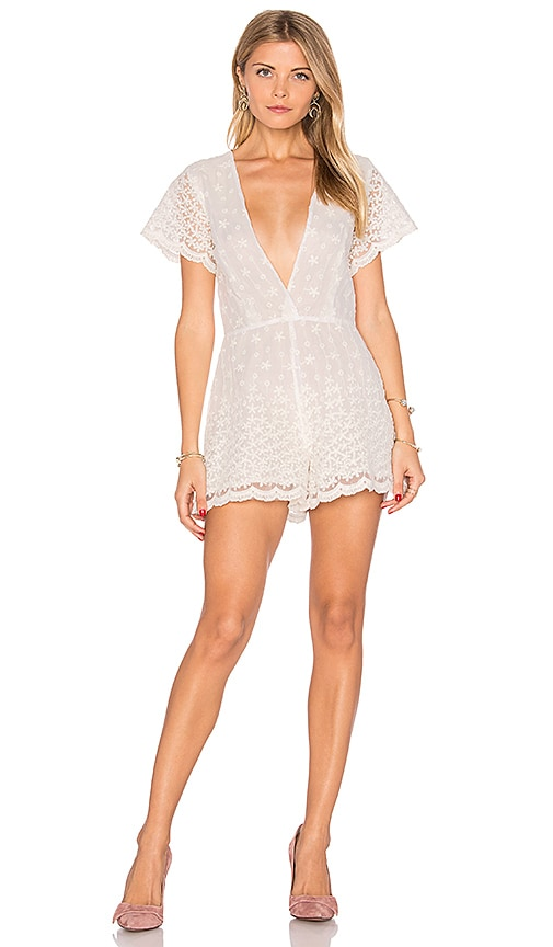 Lurelly Embroidered Flower Romper in White
