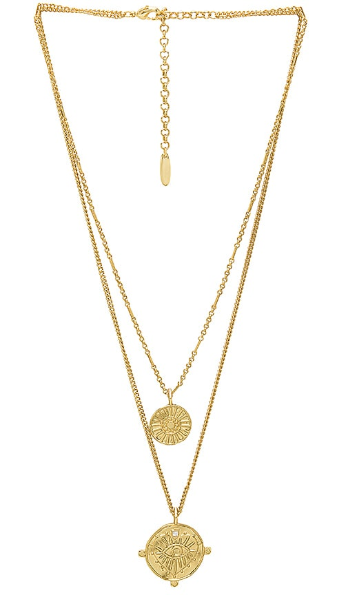 Luv AJ x REVOLVE The Double Coin Charm Necklace in Metallic Gold