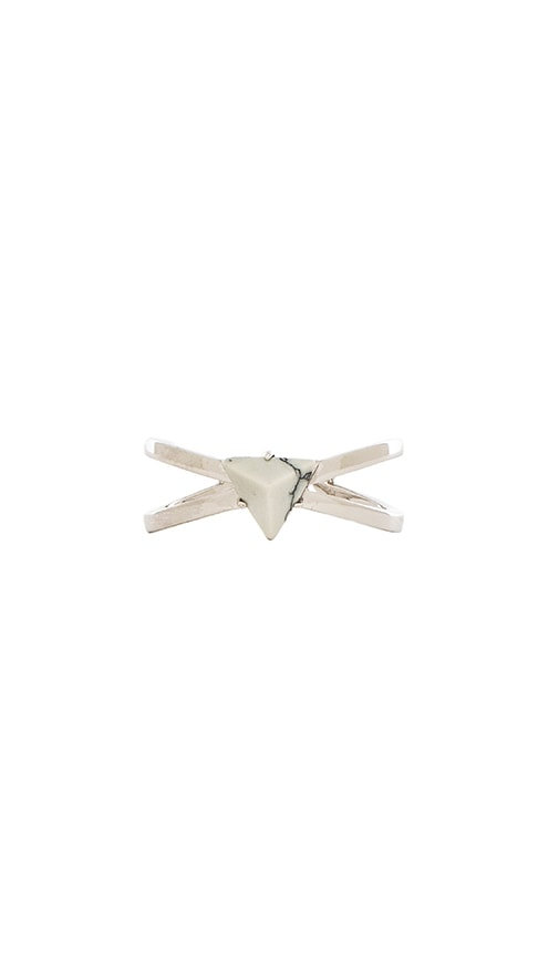 Luv AJ The Criss Cross Marble Ring in Metallic Silver