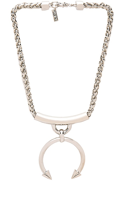 Luv AJ The Barbell Ring Necklace in Imitation Rhodium