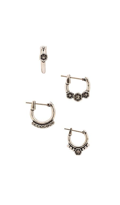 Luv AJ The Full Bloom Hoop Earring Set in Silver Ox