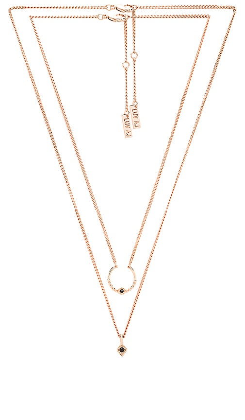 Luv AJ The Full Bloom Double Charm Necklace in Rose Gold