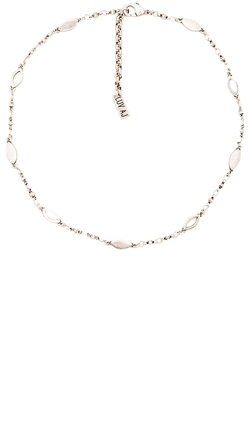 Luv AJ Marquise Link Choker in Metallic Silver