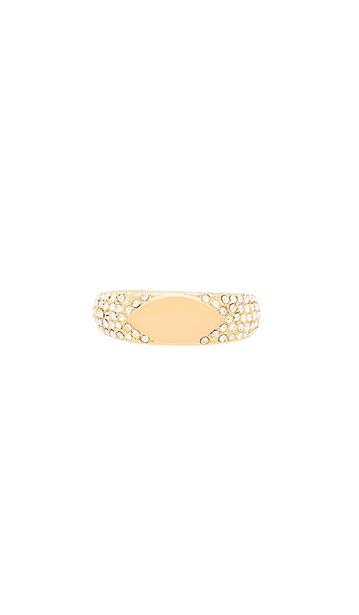 Luv AJ Marquise Signet Ring in Metallic Gold