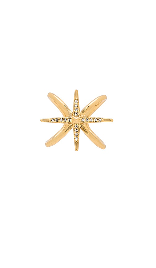 Luv AJ Criss Cross Starburst Ring in Metallic Gold