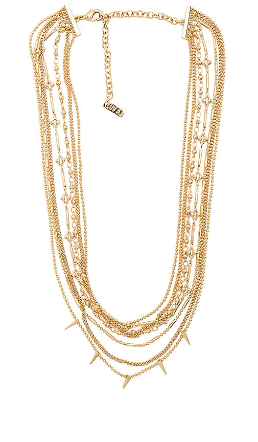 Luv AJ Multi Chain Spike Necklace in Metallic Gold
