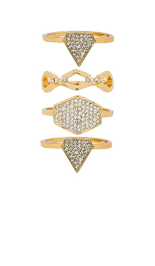 Luv AJ Pave Shield Ring Set in Metallic Gold