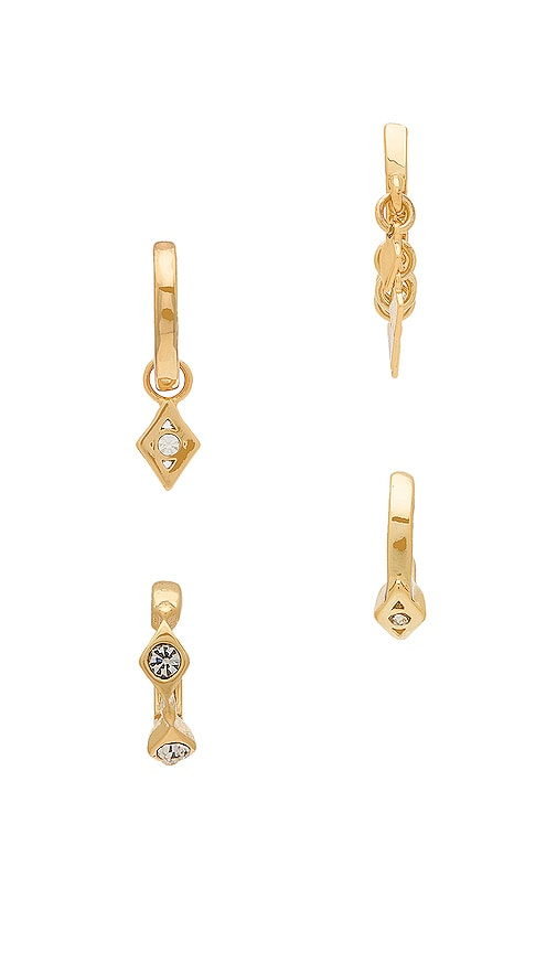 Luv AJ Evil Eye Hoop Huggie Earrings in Metallic Gold