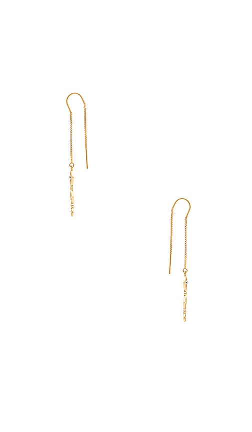 Luv AJ Evil Eye Threader Earrings in Metallic Gold