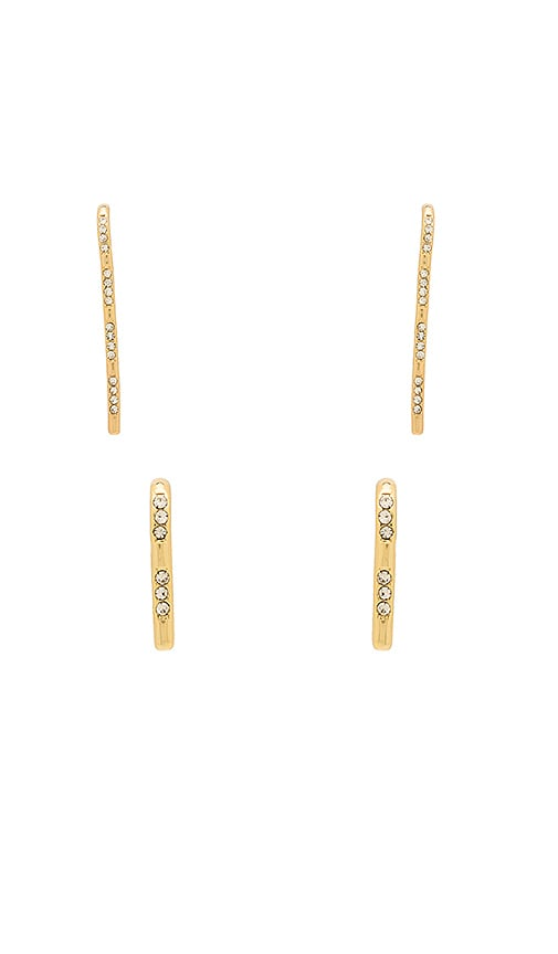 Luv AJ Scattered Pave Hook Earrings in Metallic Gold