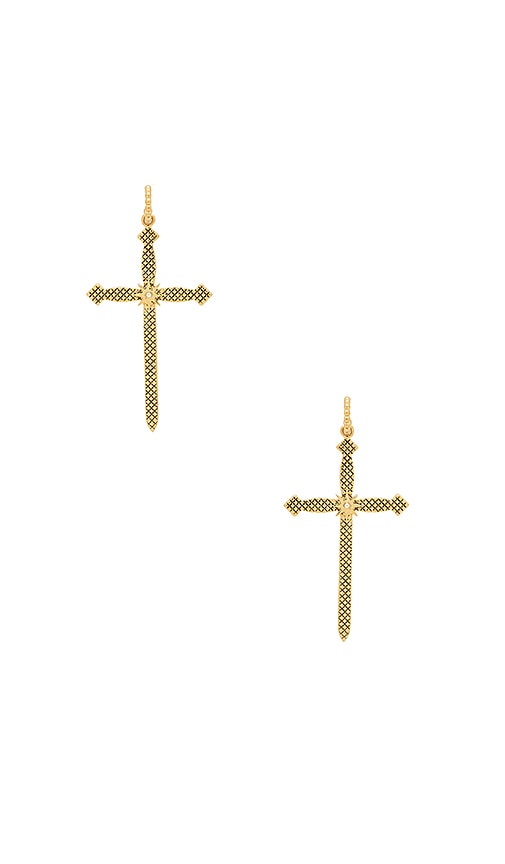 Luv AJ Serpent Cross Hoops in Metallic Gold
