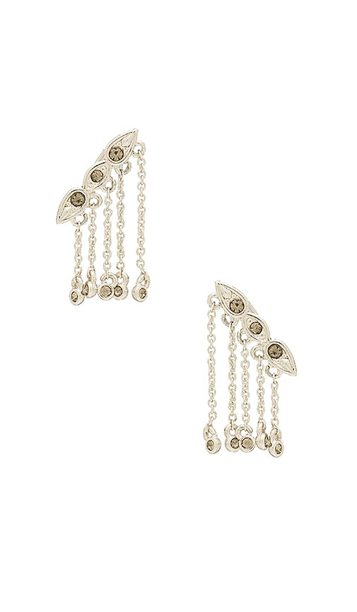 Luv AJ Posie Dangle Crawler Earrings in Metallic Silver