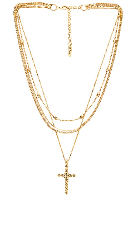 Luv AJ Serpent Cross Charm Necklace in Metallic Gold
